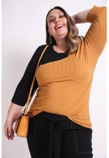 Blusa Bicolor Plus Size Kaue Plus Size Feminina - Feminino-Caramelo