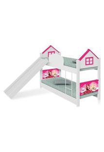 Beliche Infantil Casa Princesa Com Escorregador E Colchões Casah