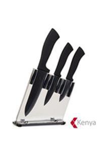 Jogo De Facas Preta Com 03 Pecas Em Ceramica - Kenya