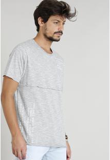 Camiseta Masculina Com Recorte Manga Curta Gola Careca Cinza Mescla