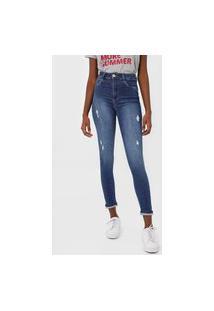 Calça Jeans Sawary Skinny Destroyed Azul