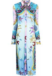 Versace Vestido Com Estampa Trésor De La Mer - Azul