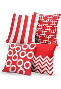 Kit 4 Capas De Almofadas Decorativas Own Geométricas E Listras Vermelha E Branca 45X45 - Somente Capa