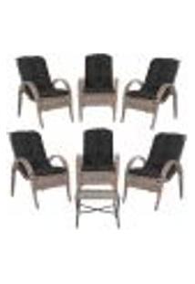 Jogo Com Cadeiras 6Un E Mesa P/ Jardim Edicula Varanda Descanso Trama Napoli Plus Argila A37