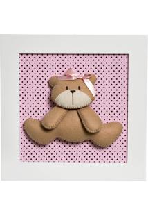 Quadro Decorativo Ursa Potinho De Mel Rosa