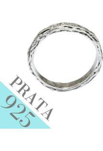 Anel De Prata Kumbayá Joias Textura De Madeira - Feminino-Prata