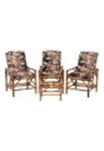 Conjunto Mesa E 3 Cadeiras De Bambu Cancun Para Área Edicula Jardim G22