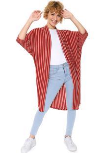 Kimono Cantão Listrado Laranja/Off-White