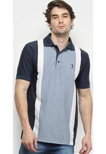 Camisa Polo Aleatory Listrada Fio Tinto Masculina - Masculino-Marinho+Azul