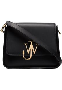 Jw Anderson Black Anchor Logo Medium Leather Shoulder Bag - Preto
