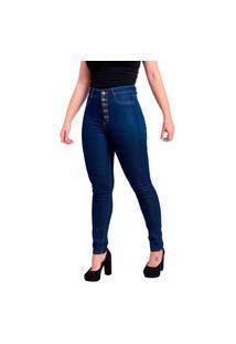 Calça Jeans Feminina 5 Botões Skinny Trama Cetim Com Elastano Cintura Alta Azul Marinho