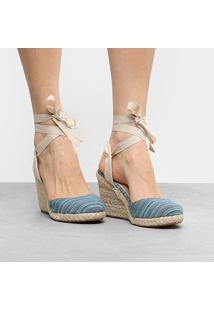 Sandália Anabela Shoestock Listrada Feminina - Feminino-Azul Turquesa