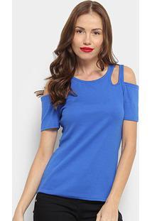 Blusa Top Moda Open Shoulder Feminina - Feminino-Azul