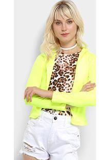 Blazer Flora Zuu Neon Feminino - Feminino-Amarelo