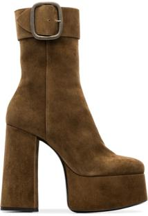 Saint Laurent Ankle Boot 'Billy 85' De Couro - Marrom