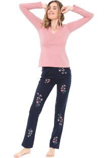 Pijama Malwee Liberta Floral Rosa/Azul-Marinho