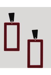 Brinco Feminino Longo Geométrico De Acrílico Vinho - Único
