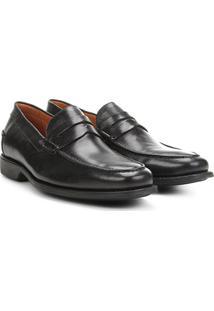 Sapato Social Couro Richards Mocassim Relax New - Masculino-Preto