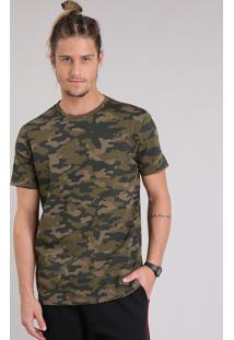 Camiseta Masculina Estampada Camuflada Manga Curta Gola Careca Verde Militar