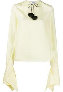 Lanvin Blusa Com Cordão Na Gola - Amarelo
