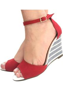 Sandália Anabela Vermelha Rubi Salto Médio Alto Estampada Tira Tornozelo