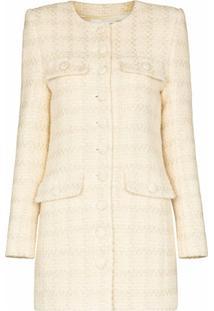 Saint Laurent Collarless Long Line Blazer Jacket - Neutro