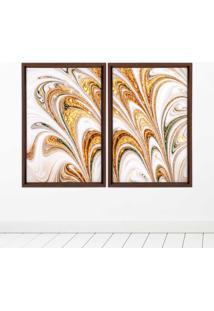 Quadro Com Moldura Chanfrada Mármore Abstrato Dourado Madeira Escura - Médio