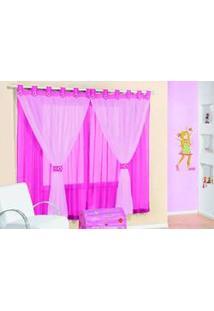 Cortina Juvenil Para Meninas Pink Com Branco 3M