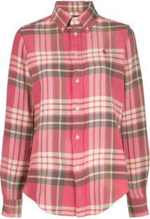 Polo Ralph Lauren Camisa Mangas Longas Com Logo - Vermelho