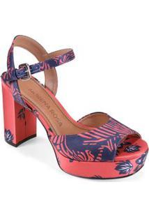 Sandalia Salto Alto Estampa Personalizada Vermelho