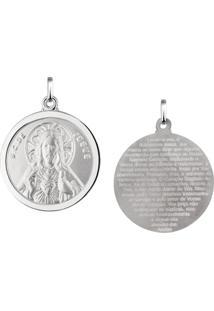 Pingente Sagrado Coração De Jesus Redondo Em Prata 925 - Unissex-Prata