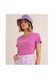 """Camiseta De Algodão """"Equilíbrio É Tudo Pena Que Não Tenho"""" Manga Curta Decote Redondo Roxa"""