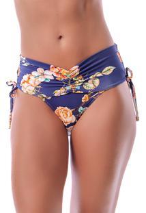 Calcinha Summer Soul Cós Alto Com Franzido E Amarração Azul Floral