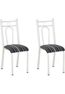 Conjunto 2 Cadeiras Hanumam Branco E Preto Listrado