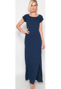 Vestido Longo Com Fenda- Azul Marinho- Vittrivittri