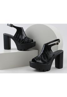 Sandal Boot Feminina Oneself Salto Alto Grosso Tratorada Texturizada Croco Preta