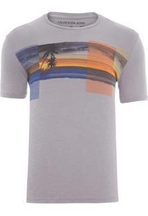Camiseta Masculina Praia - Cinza