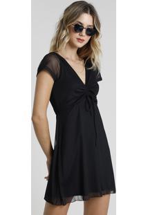 Vestido Feminino Curto Em Tule Com Amarração Manga Curta Preto