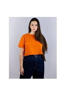 Camiseta Cropped Sem Barra Laranja, Cor: Laranja, Tamanho: Pp Laranja