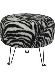 Puff Redondo Decorativo Tecno Mobili Pf7003 Base Metálica/Estampa Zebra