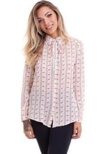 Camisa Kinara Crepe Chiffon - Feminino-Bege