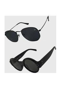 Oculos De Sol Feminino Redondo Volpz Londres E Hexagonal Preto