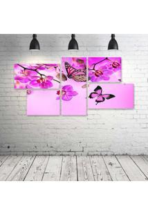 Quadro Decorativo - Pink-Butterfly - Composto De 5 Quadros
