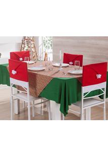 Kit 4 Capa De Natal Para Encosto De Cadeira Com Gorro Vermelho Natalino - Enxovais Ibitinga