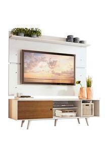 Rack Madesa Dubai E Painel Para Tv Até 65 Polegadas Com Pés Branco/Rustic 9B09 Branco