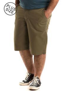 Bermuda Konciny Sarja Estampada Plus Size Verde Musgo