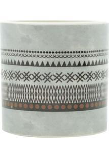 Vaso Decorativo Asteca L Cinza E Preto 7X7X7