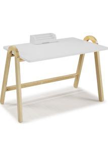 Mesa Escrivaninha Com Porta Objetos Ringo 1031 Natural/Branco - Maxima