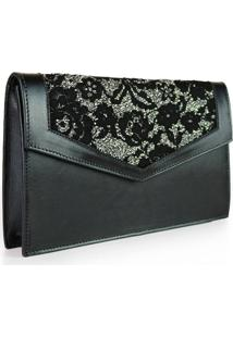 Clutch Camila Akemi Munique Renda Preto