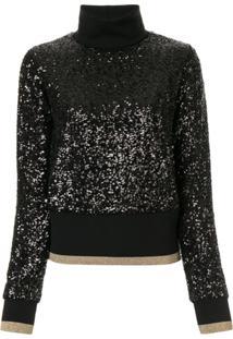 Dolce & Gabbana Suéter Gola Alta Com Paetês - Preto